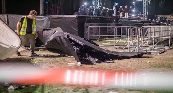 Thirty people injured after giant LED screen collapses onto fans at rap concert in Germany