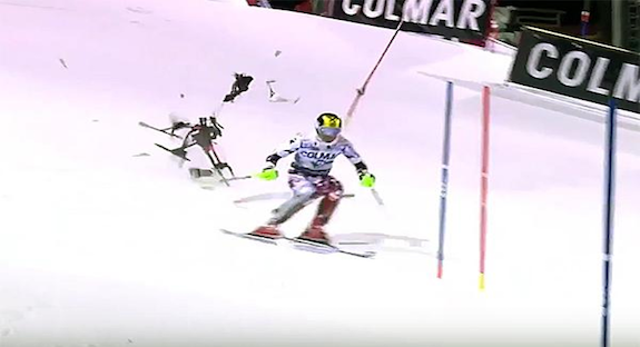 Drones: An accident from the past – Skier Marcel Hirscher escapes injury as drone smashes behind him during race