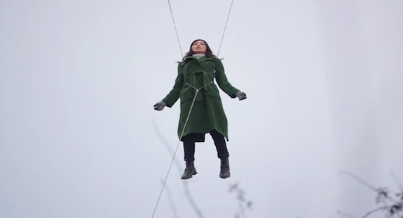 Gemma Chan suspended in mid-air while filming Marvel's The Eternals in London